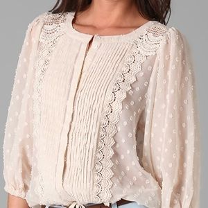 Tbags Los Angeles Ivory Lace Blouse